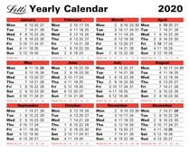 2020 Business Calendar Yearly