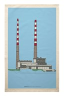 Poolbeg Chimneys Tea Towel