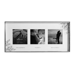 Silver Foil Floral Triple Frame - Engaged Wedding Honeymoon
