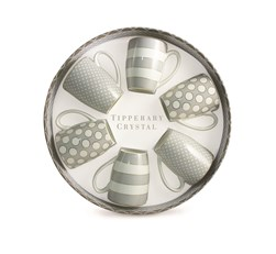 Tipperary S/6 Mugs Spots & Stripes Grey