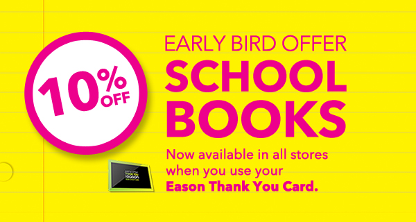 10% off school books eason