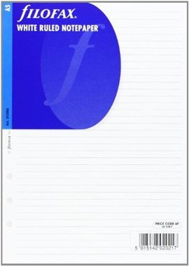 FILOFAX A5 WHITE RULED NOTEPAPER REFILL by