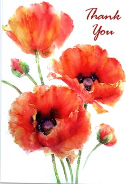 Thank You Cards 6x4 Poppies 8 Pack