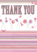 Thank You Cards Pink Lines and Flowers 8 Pack